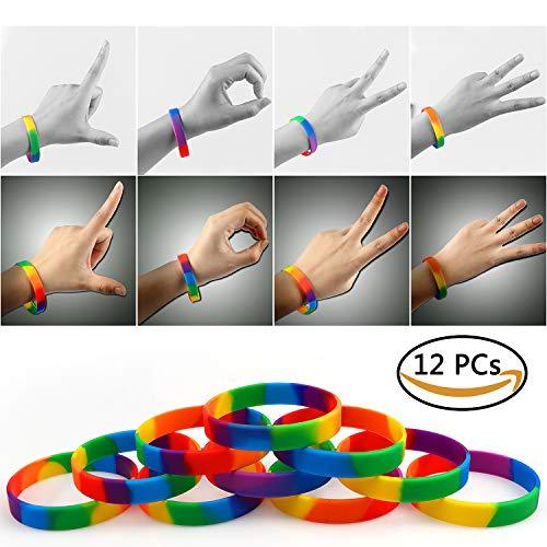 VAMEI 12 Stück Gay Pride Rainbow Armbänder 6 Farben LGBT Party Silikonkautschuk Armbänder Yahweh Covenant Armbänder