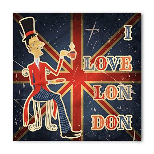 MSGDF British Bandana, I Love London Quote English Man Drinking Tea on UK Flag Backdrop National Design, Printed Unisex Bandana Head and Neck Tie Scarf Headband, 22 X 22 Inches, Multicolor