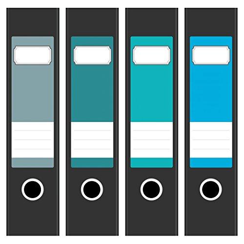 4 x farbige Design Akten-Ordner Etiketten / Aufkleber / Rücken Sticker / Farben im Mix Grün Türkis Blau / für breite Ordner / selbstklebend / 6cm breit