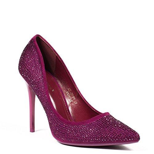 Ideal Shoes - Escarpins à bout pointus effet daim recouvert de strass Macha Violet