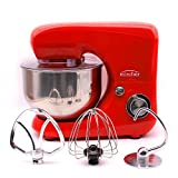Minifair 7 Speed Electric Food Stand Mixer 800W 3-in-1 Beater/Whisk/Dough Hook With 5.5L Stainless Steel Bowl Red