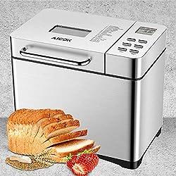 Aicok Panificadora con 19 Programas, Maquina de hacer pan con Dispensador Automático y Temporizador de 15h, Acero inoxidable, 0.5-1kg para Pan sin gluten, Mermelada y Yogur, 650W, Plateado