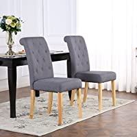 The Home Garden Store Set of 6 Premium Linen Fabric Dining Chairs Scroll High Back Dark Grey