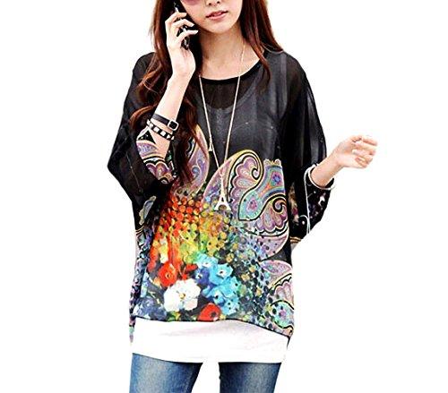 Blusa de talle ancho hecho de gasa y con estampado floral negro 007 - Moda femenina para la mujer mws1827