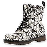 Marimo Damen Schürr Stiefeletten Worker Boots Lederoptik Blockabsatz Profilsohle Schlangenoptik 40