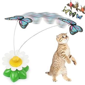 Ulooie Creative pour animal domestique électrique rotatif Fleur Papillon en fil d'acier pour chat Fly Tempêtes de sable jouet interactif