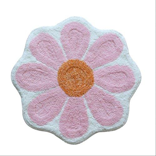 LILILI Blume matten Pulver Grün Blau Türmatten absorbierend Rutschfest mit der Hand Waschen Badezimmer Schlafzimmer Matte Teppich, 2 (Pulver-blau-teppich)
