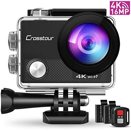 Crosstour CT9000 Action Cam Unterwasserkamera (4K 16MP WiFi Unterwasser 40M Wasserdicht Helmkamera Fernbedienung)