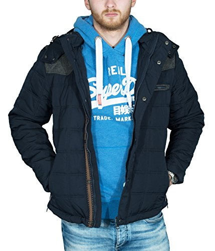 Better Sleep tylz greybullbz giacca invernale da uomo uomini piumino look cappuccio rimovibile Vegan (S-XL) Blau/GrauKR XXL