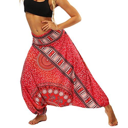 Nuofengkudu Damen Hippie Hose Pumphose Haremshose Aladinhose Thai Gemustert Gesmockte Taille Niedriger Schritt Leicht Luftig Stoffhose Yogahose -