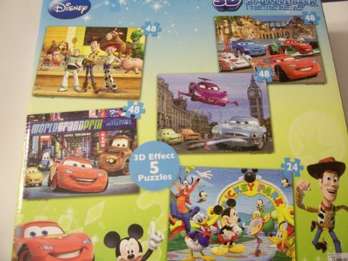 Disney Toy Story, Cars, and mickey Mouse Clubhouse Super 3D Five Puzzle Pack by Disney