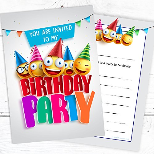 Kid birthday card invite amazon kids birthday party invites childrens fun emoji design invitations a6 postcard style ready to write pack 10 bookmarktalkfo Gallery