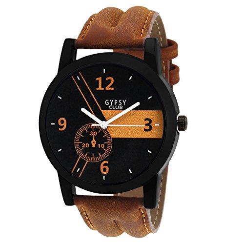 Gypsy Club Casual Analogue Black Dial Tan Leather Strap Watch For Men & Boys - GCM175