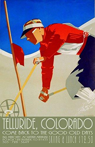 Colorado vintage Travel Ski poster Winter usa favolosa (pronto da appendere), A3con...