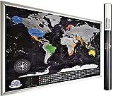 Detaillierte Rubbel Weltkarte mit Fahnen (Englisch) XXL Personalisiertes Poster zum Reisen zu verfolgen. Original Geschenk für den Reisenden. Einzigartiges Design von 2Maps (Schwarz/Silber 84 x 57cm)