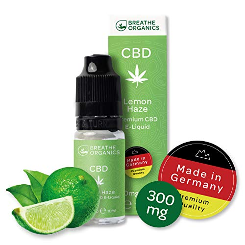 Premium CBD Liquid Lemon Haze von Breathe Organics® | E Liquid ohne Nikotin mit 300 mg CBD | 100% natürliche Terpene | Cannabidiol Liquid | VGmax Basis -
