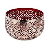 Sphärenlicht LILLE - rot /silber - Teelichthalter - Leuchtschale m. Ornament - Windlicht aus Metall (18x11 cm)