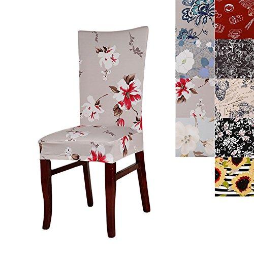 Housse de protection lavable pour chaise - Courte et extensible - Motif floral - Pour hôtel ou maison