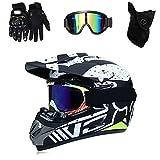 QYTK Full-Face Motocross Helm mit Visier Brille Handschuhe Maske, Serie RM-432 Motorradhelm Herren...