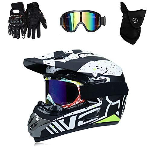 QYTK Full-Face Motocross Helm mit Visier Brille Handschuhe Maske, Serie RM-432 Motorradhelm Herren für Cross-Country Motorrad Motocross Racing Bergab Offroad Enduro Set,Blackwhite~L - Fox Racing Mädchen Handschuh