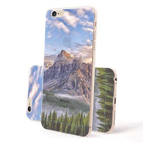 FINOO ® | Iphone 6 / 6S Plus Hardcase Handy-Hülle | Transparente Hart-Back Cover Schale mit Motiv Muster | Tasche Case mit Ultra Slim Rundum-schutz | stoßfestes dünnes Bumper Etui | Empire State Build Berge und Wald