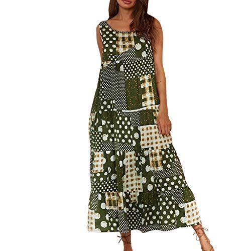 Robe Femme Grande Taille,SANFASHION Robe sans Manches Robe Haut Débardeur Robe Cotton Lin Robe Longue Boheme de Plage Pas Cher