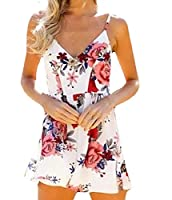Tootlessly Women's Casual Deep-V Neck Floral Print Short Mini Dress White XS
