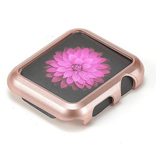 Preisvergleich Produktbild EL-Move Apple Watch Fall Rugged Shock Resist Schutz Rüstung PC Case mit Riemen Bands für Apple Watch 38mm/42mm(42mm,Rose)