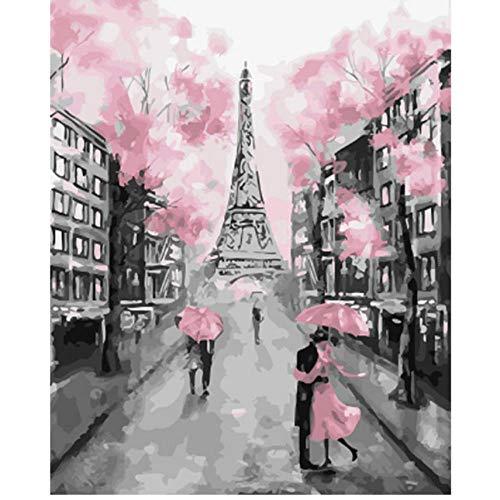 Waofe Eiffelturm Rosa Landschaft Diy Digitales Malen Nach Zahlen Moderne Wandkunst Leinwand Malerei Einzigartiges Geschenk Wohnkultur- No Frame (Eiffelturm Leicht Zeichnung)