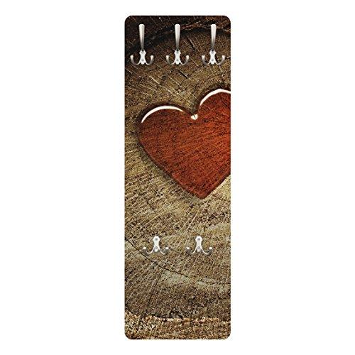 BIlderwelten 72999 Wandgarderobe Natural Love | Design Garderobe Garderobenpaneel Kleiderhaken Flurgarderobe Hakenleiste Holz Standgarderobe Hängegarderobe | 139x46cm