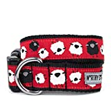 The Worthy Dog 21858-3986XL Counting White and Black Sheep Verstellbares Designer-Hundehalsband, Größe XL, Rot
