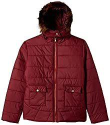 Qube By Fort Collins Girls Jacket (18104 fa_Maroon1_26(6 - 7 years))