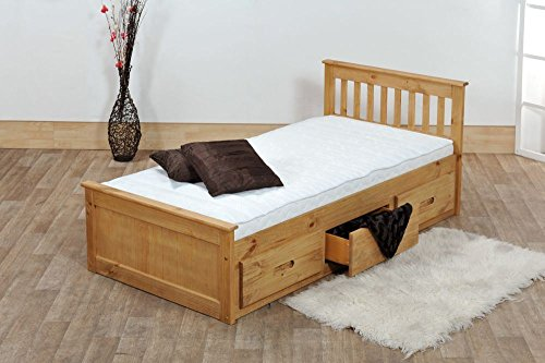 Happy Beds Mission Wooden Solid Waxed Pine Storage Bed Drawers Furniture with Deluxe Memory Foam Mattress 4'6'' Double 135 x 190 cm