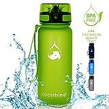 coolrhino Trinkflasche für Sport, Kinder & Outdoor - Kohlensäure geeignete Wasserflasche - Sport Flasche auslaufsicher in gelb, 650ml