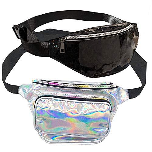 Taille Holographic Rave Fanny Pack für Frauen, Shiny Neon Festival Hüfttasche Hologramm Reise Gürteltasche Tasche 2 Pack Leichtgewicht Reise Bum Bag ()