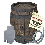 REGENTONNE EICHENFASS 120L mit REGENSAMMLER T33 FILTER-SET zur AUTOMATIK-BEFÜLLUNG, fühlbare Holzstruktur in sehr schönem HOLZ-DESIGN, täuschend-echte Holzstruktur, mit Maserung wie ein HOLZFASS, dauerhaftdicht und splitterfrei!