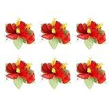 BESTOYARD 6pcs Hawaïen Fleurs Pinces à Cheveux Nuptiale Barrette Plage Tropicale Mariage Hibiscus Fleur Femmes Partie Pince à Cheveux épingle à Cheveux Accessoires (Rouge)