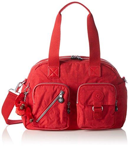Kipling DEFEA Damen Schultertasche, Rot (35J Vibrant Red), 33x24.5x19 cm (B x H x T)