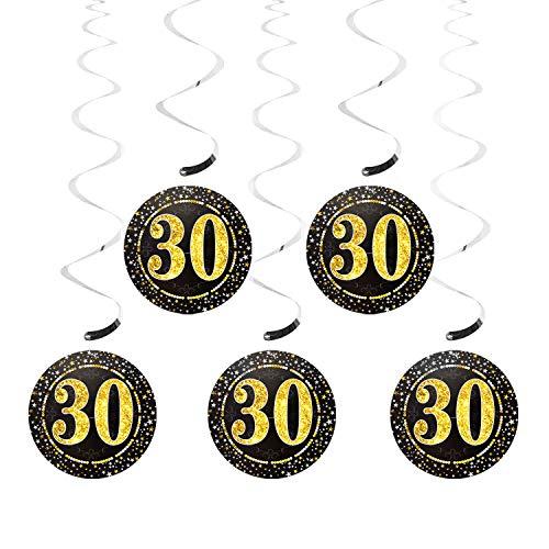Oblique Unique® 5 Deckenhänger Wirbel Spiral Girlanden mit Zahl 30 Rund Deko für Geburtstag Jubiläum Party Feier UVM. Silber Schwarz Gold