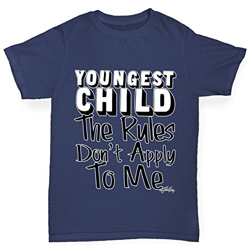 TWISTED ENVY Girl's Youngest Child Rules Don't Apply To Me Funny Cotton T-Shirt