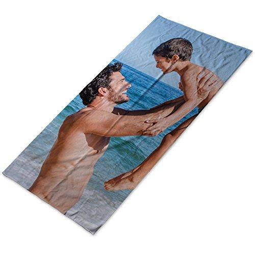 LolaPix Personalisiertes Strandtuch mit Foto/Motiv/Name/Text | Baumwolle | Originelles Geschenk | Pool Strand Camping | Verschiedene Größen | 80X160