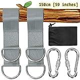Colisal 1.5m Schaukel Aufhängung Befestigung Set Hängematten Befestigung Aufhängung Nylon Hanging Gurt mit 2 Schaukel Karabinern Haken für Schaukel Hängematten Grau
