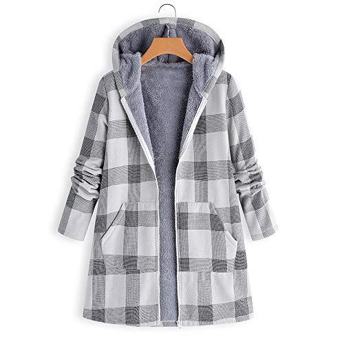 iHENGH Damen Herbst Winter Bequem Mantel Lässig Mode Jacke Frauen Winter Warm Outwear Button Plaid Print Tasche Vintage Übergröße Mantel(Grau, S)