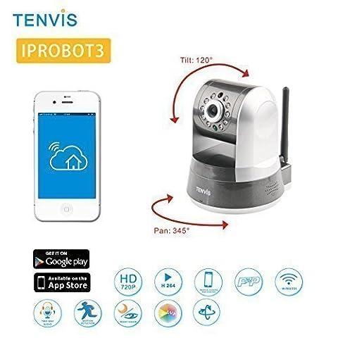 Tenvis IpRobot 3 Überwachung Ip HD-kamera - Bewegungsmelder Alarm - Motorisiert - Nachtsicht - Anwendung Telefon/Handbuch in DEUTSCH - Einfache Einrichtung - Bidirektionaler Ton - ONVIF