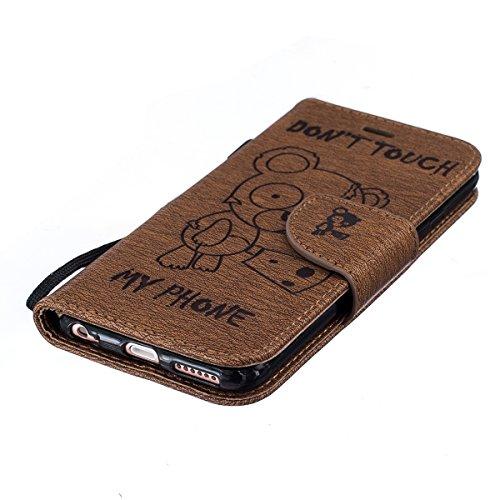 EUWLY Custodia Pelle iPhone 6s/iPhone 6 Protettiva case Protettiva Portafoglio Custodia Wallet Custodia Cover Bella Carino Orso Vintage Flip Copertura, Custodia Portafoglio in Pelle Cover con Porta Ca Orso,caffè
