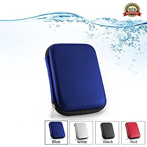 2.5 Portable External Hard Drive Case for WD/Western Digital Element My Passport/Seagate Expansion Backup Plus/Samsung/Toshiba Shockproof Waterproof Hand Carry Hard Disk HDD Bag Pouch of Storage Power Bank, USB PU Leather EVA Travel Shell