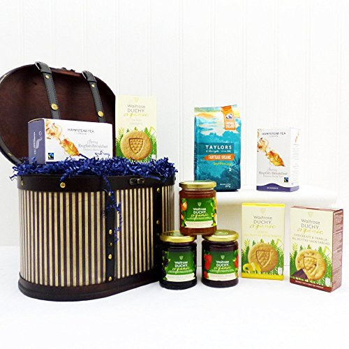 The Victorian Organic Food Box - Luxury Wooden Replica Hat Box Gift Hamper with 9 Items - Gift Ideas for Birthday, Anniversary and Congratulations presents