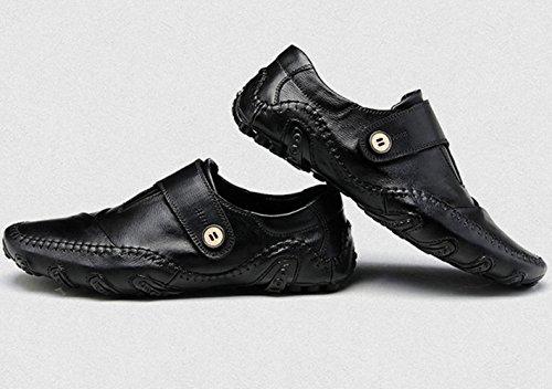 SZAWSL Herren Leder Schuhe Slipper Elegant Flache Loafers Bootsschuhe Freizeitschuhe Schwarz