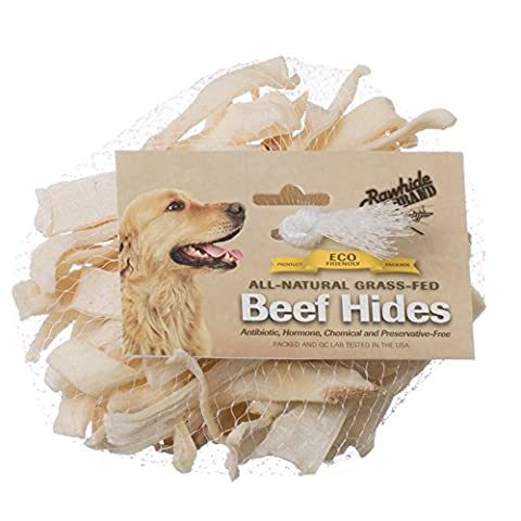 Rawhide Brand Eco Friendly Beef Hide Strips Natural Chew Treats for Dogs 8inch 4 oz