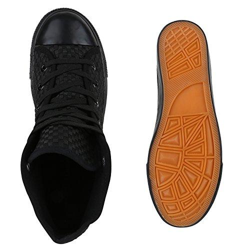 Herren High Top Sneakers Sportschuhe Stoffschuhe Casual Style Schwarz
